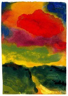 Emil Nolde (1867-1956 )  Buiten zeegezichten, portretten en religieuze onderwerpen, schildert Nolde honderden aquarellen van bloemen en landschappen. Hij maakte portretten, landschappen, figuurstudies, caféscènes etc. en bediende zich van olieverf, etstechniek en houtsnede. Kenmerkend voor het werk van hem zijn forse, schetsmatige lijnen en felle kleuren. Als graficus maakte hij talrijke houtsneden, litho's en etsen.