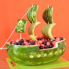 Carve a Watermelon Into a Pirate Ship Party Food - Best Pirate Birthday Party Food for Kids. Homemade pirate food ideas perfect for any age! Wiggles Birthday, Wiggles Party, Pirate Birthday, Funny Birthday, 5th Birthday, Birthday Shirts, Pirate Snacks, Pirate Food, Pirate Themed Food