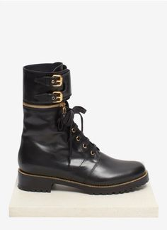 Sergio Rossi - Detachable high-top cuff lace-up combat boots | Black Ankle Boots | Womenswear | Lane Crawford