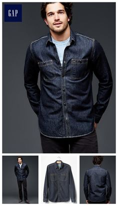 Take your wardrobe to the next level with premium men's shirts from Gap. Browse a line of handsome shirts for men today. Casual Shirts For Men, Men Casual, Casual Wear, Button Up Shirt Mens, Gap Men, Stylish Mens Outfits, Fashion Lookbook, Shirt Jacket, Denim Fashion