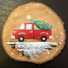 Red Truck Log Slice Ornament - Can be personalized - Hand-Painted Christmas Log, Painted Christmas Ornaments, Christmas Ornament Crafts, Wood Ornaments, Christmas Crafts For Kids, Christmas Projects, Holiday Crafts, Christmas Decorations, Mayan Symbols