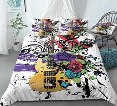 Colorful Guitar Flowers Butterflies Bedding Set Clean Design, 3d Design, Butterfly Bedding Set, Vibrant Colors, Colorful, Bed In A Bag, Purple Butterfly, Cotton Duvet, Gifts For Teens