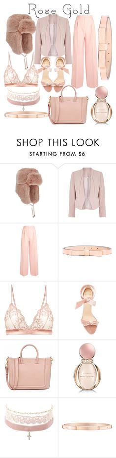 """""""Rose Gold"""" by luisa-katerina ❤ liked on Polyvore featuring Miss Selfridge, Jacques Vert, MaxMara, RED Valentino, Fleur of England, Alexandre Birman, Bulgari, Charlotte Russe and Harry Winston"""