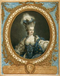 daughterofchaos:Portrait of Marie-Antoinette, France, 1777, Color etching and engraving with gold leaf, printed on two sheets