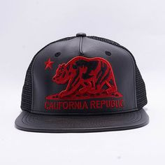 5 Panel Pu Trucker California Republic Bear Flat Bill Design Snapback Hat   Black(Red 2e1bb300de6