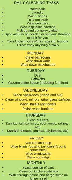 Back to the daily grind! Get into a good routine of cleaning with this daily cleaning schedule to make the tasks seem less daunting.