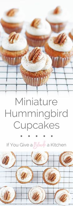 Delicious mini hummingbird cupcakes are so tiny, just like a hummingbird! These bite-sized treats are inspired by Southern Living's hummingbird cake recipe, which is a pineapple-banana spice cake with cream cheese frosting. | @haleydwilliams