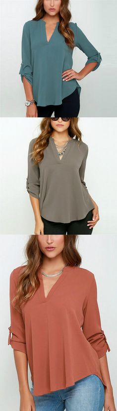 Enjoy a few moments of relaxation with this cozy chiffon long sleeve blouse.