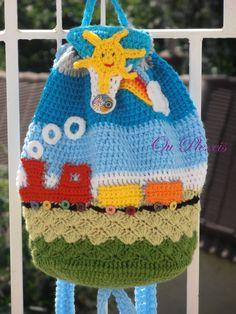 Crochet school bag children bag handmade bag crochet by Ouplexeis Crochet Backpack, Bag Crochet, Crochet Handbags, Crochet Purses, Crochet Clothes, Crochet Baby, Kids Purse, Crochet For Kids, Crochet Children