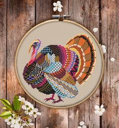 This is modern cross-stitch pattern of Mandala Turkey for instant download. You will get 7-pages PDF file, which includes: - main picture for your reference; - colorful scheme for cross-stitch; - list of DMC thread colors (instruction and key section); - list of calculated
