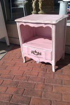 vintage nightstand pink shabby french chic by VintageChicFurniture, $195.00