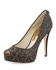afe456897543 X2G20 MICHAEL Michael Kors York Crystal Platform Pump Tan Brown Shoes