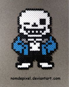 Sans - Undertale perler beads by NomDePixel Perler Bead Designs, Perler Bead Templates, Pearler Bead Patterns, Perler Patterns, Perler Beads, Perler Bead Art, Fuse Beads, Undertale Pixel Art, Stitch Games