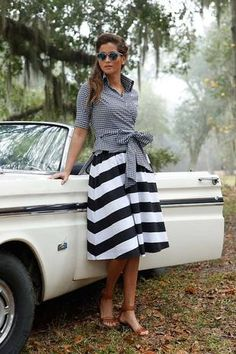 Wide stripe skirt with gingham