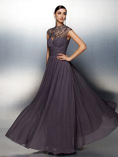 A-line High Neck Floor-length Chiffon Evening Dress (ST1417) | LightInTheBox