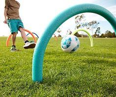 Pool Noodle croquet or hurdles: Stick to plastic forks into the ground, and put the pool noodle over the fork handles. Voila! You have a croquet arch.