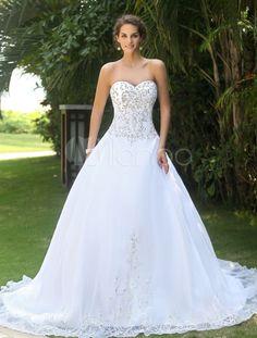 Vestido de noiva branco doce coração bordado - Milanoo.com