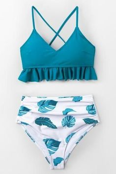Infuse fun, tropical flair to your swimwear collection with this Blue and Leaf Print Ruffled...,#collection #flair #infuse #print #ruffled #swimwear,#collection #flair #infuse #print #ruffled #swimwear #tropical