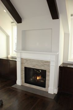 Glass Tile Fireplace Design, Pictures, Remodel, Decor and Ideas--i like the tile all around the firebox and the nice detail of the wood around the hearth