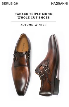 a46e9bc62 Magnanni tabaco triple monk whole cut shoes  Best for a formal event