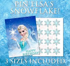 Pin the Snowflake! Birthday Game Printable, Frozen Birthday Party, Frozen Decorations, Elsa Dress Frozen Party Game, Olaf, Disney Frozen