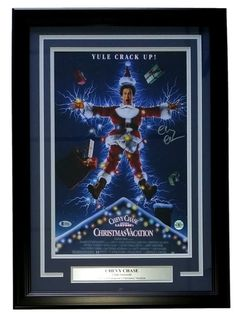Chevy Chase Signed Framed 12x17 Christmas Vacation Movie Cover Photo Beckett BAS