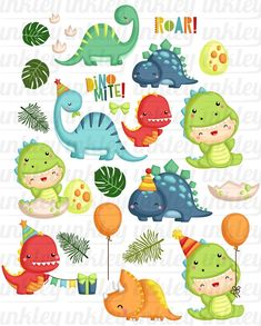 Jurassic Animal Clipart - Cute Dinosaur Clipart - Birthday Party Clipart - Free SVG on Request Birthday Party Clipart, Dinosaur Birthday Party, Boy Birthday, Happy Birthday, Die Dinos Baby, Baby Dinosaurs, Free Svg, Jurassic, Image Digital