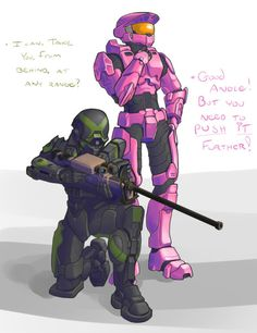 Honestly, I'll ship Donut with anyone. Mortal Kombat Comics, Halo Drawings, Halo Armor, Halo Spartan, Halo Game, Halo Reach, Red Vs Blue, Thicc Anime, Rooster Teeth