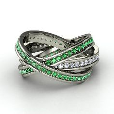 Brilliant Triple Rolling Rings, Platinum Ring with Emerald