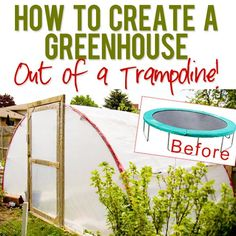 How to Create a Greenhouse out of a Trampoline! What a BRILLIANT idea!! #upcycle #trampoline #greenhouse Tutorial at HowDoesShe.com