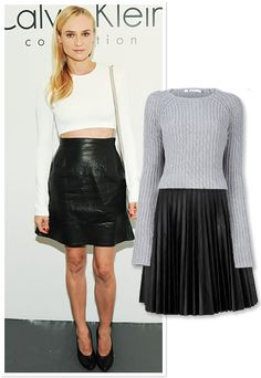 Midriff-Baring Sweater and Leather Skirt