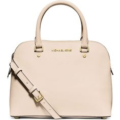 MICHAEL Michael Kors Cindy Medium Dome Satchel Bag ($275) ❤ liked on Polyvore featuring bags, handbags, ecru, studded satchel purse, pink handbags, pink satchel, michael michael kors handbags and zipper purse