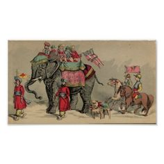 Circus Elephants and Horses Poster