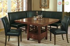 Salem 6 PC Breakfast Nook Dining Room Set Table Corner Bench Seating 2 Chairs | eBay
