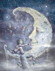 illustration by James Christopher Carroll for his book, The Boy and the Moon Sweet Pictures, Moon Pictures, Moon Images, Sun Moon Stars, Moon Face, Photo D Art, Good Night Moon, Beautiful Moon, Nocturne