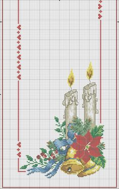 This Pin was discovered by Can Xmas Cross Stitch, Cross Stitch Borders, Cross Stitch Flowers, Cross Stitch Charts, Cross Stitch Designs, Cross Stitching, Cross Stitch Embroidery, Hand Embroidery, Cross Stitch Patterns