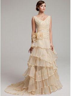 Wedding Dresses - $210.99 - A-Line/Princess V-neck Sweep Train Organza Wedding Dress With Ruffle Lace Beadwork Flower(s)  http://www.dressfirst.com/A-Line-Princess-V-Neck-Sweep-Train-Organza-Wedding-Dress-With-Ruffle-Lace-Beadwork-Flower-S-002017527-g17527