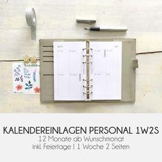 WOCHENPLANER PERSONAL | Kalendereinlagen | 1 Woche 2 Seiten | 1W2S Kikki K, Printable Planner, Printables, Planner Inserts, Locker Storage, Organization, Bujo, Paper, Ballpoint Pen