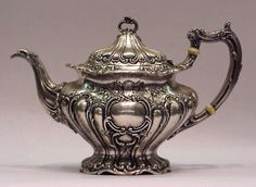 GORHAM STERLING TEAPOT: Melon ribbed with embossed scroll and floral motif.  --Shared by WhatnotGems.Etsy.com  Shop etsy