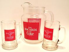 1978 Bacardi Rum and Coca Cola Coke Pitcher and Two Glasses