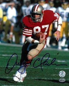 0831ca30a36 Autographed Dwight Clark Photo - 8X10 red jersey run)- Hologram 49ers  Players