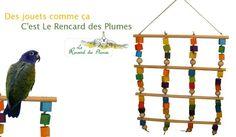 Une aire de jeux haute en couleurs pour vos perruches et petits perroquets. Un rideau de cordes en chanvre et de petits cubes en bois tendre à suspendre. Le Rencard des Plumes fabrique des aires de jeux testées en réel avec des perroquets.