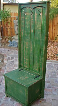 Wood Hall Tree - Furniture - Hall Stand - Distressed Furniture - Handmade - Coat Rack - In your Antique Color Choice. $950.00, via Etsy.