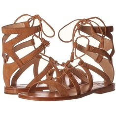 Frye Ruth Gladiator Short Sandal Women's Sandals ($228) ❤ liked on Polyvore featuring shoes, sandals, tassel sandals, leather strappy sandals, strap gladiator sandals, strappy gladiator sandals and boho shoes