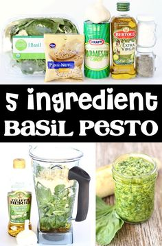 Basil Pesto Recipe! Pasta & Chicken meals taste even better when smothered in fresh homemade basil! And with just 5 ingredients and 5 minutes of time, this is one of the EASIEST things you'll ever make! Go grab the recipe and give it a try this week! Easy Summer Meals, Summer Recipes, Easy Dinner Recipes, Dinner Ideas, No Cook Appetizers, Appetizer Recipes, Salad Recipes, Healthy Recipes On A Budget, Vegetable Recipes