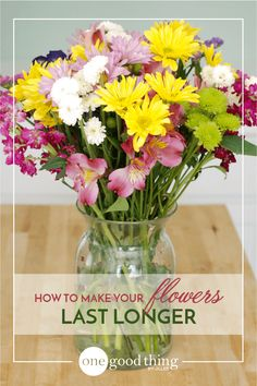 Make Your Flowers Last Longer- Homemade Flower Food 1 teaspoon sugar 1 teaspoon household bleach 2 teaspoons lemon (or lime) juice 1 quart of lukewarm water
