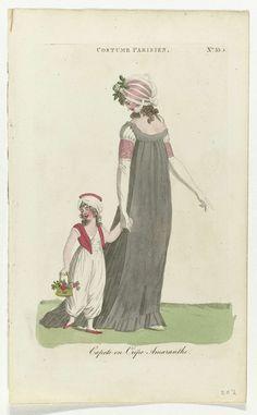 Magazine of Female Fashions of London and Paris, Costume Parisien, 1801, No. 33.3 : Capote en Crêpe..., Anonymous, 1801