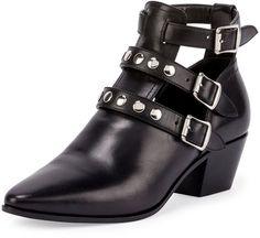 Saint Laurent Three-Strap Leather Ankle Boot, Black (Nero)