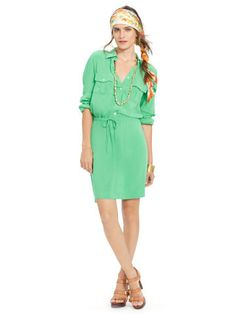 Rolled-Cuff Shirtdress - Lauren Short Dresses - RalphLauren.com