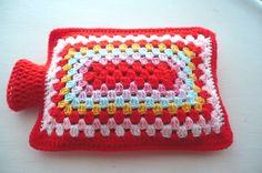Hot Water Bottle Cover/Cozy in Shades of Red and Pink by Aalexi